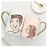 Taza de café Pareja tazas Un par de tazas de agua de cerámica creativas con cucharas de tapa Pares de pares de tazas Tazas de café pintadas a mano 350ml Inicio Regalos de boda Amor Testimonio Taza de
