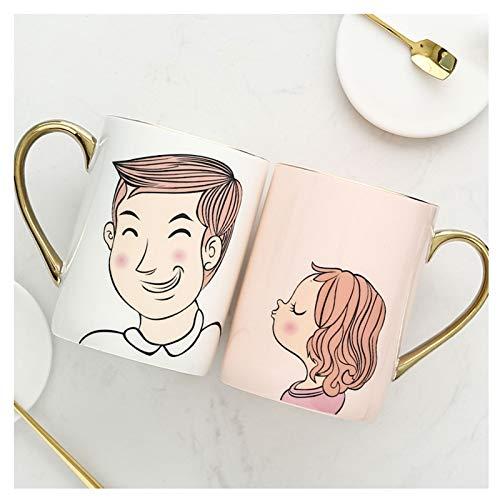 Taza de café Taza Pareja tazas Un par de tazas de agua de cerámica creativas con cucharas de tapa Pares de pares de tazas Tazas de café pintadas a mano 350ml Inicio Regalos de boda Amor Testimonio Taz