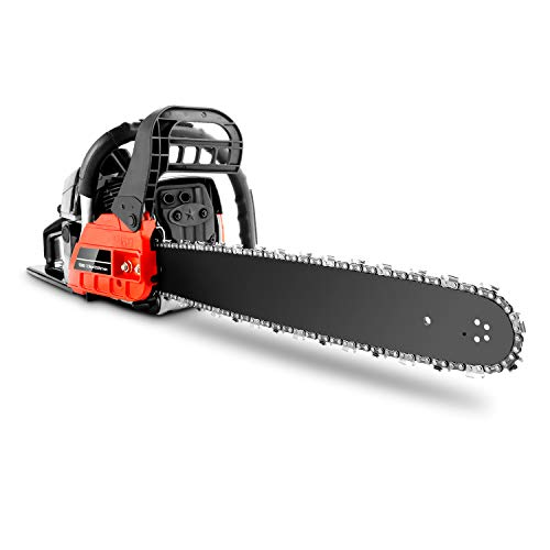 20 Inch Gas Powered Chainsaw, 58CC 2-Stroke Handheld Chain Saw with Tool Kit for Cutting Trees, Wood(Red Black)