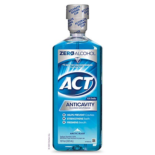 ACT Anticavity Zero Alcohol Fluoride Mouthwash 18 fl. oz., With Accurate Dosing Cup, Arctic Blast