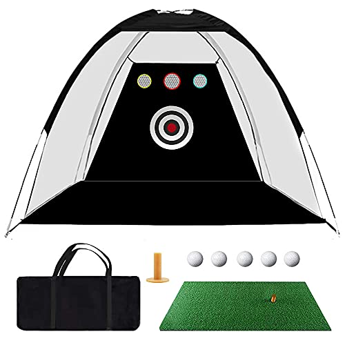 Golf Practice Net, 10ft x 7ft Golf Hitting Training Aids Nets with Target Backyard Driving Chipping, 1 Golf Mat & 5 Golf Balls & 1 Golf Tee & Carry Bag for Indoor Outdoor Sports Game (Black)