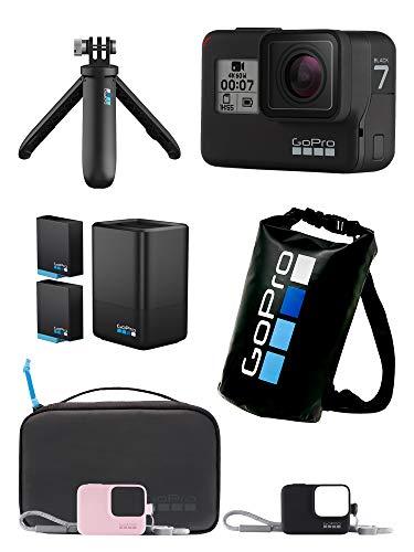 【GoPro公式限定】 GoPro HERO7 Black + トラベルキット + デュアルバッテリーチャージャー + スリーブ+ランヤード(ピンク) + 非売品ドライバッグ 【国内正規品】