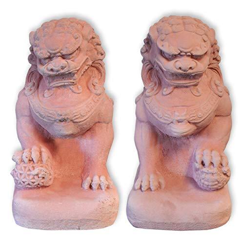 Wilai Fu-Hund Set männlich + weiblich blassrot STEINGUSS frostfest Wächterfigur Tempelwächter wachender Löwe FOO Dog 32 cm hoch