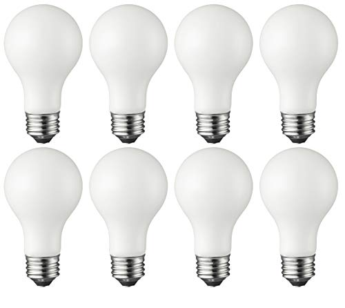 TCP RFVA6027D8 LED Filament Light Bulbs 60 Watt Equivalent | Classic A19 Full Glass, 8 Pack, Frosted Soft White Dimmable |, 8 Count