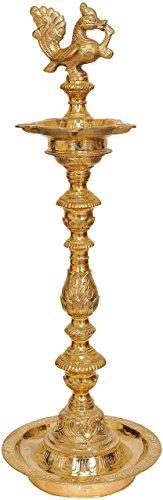 Idol collecties Grote grootte Five-Wick Pauw Lamp standbeeld, Messing, Gouden, 40.64 x 24.13 x 80.01 cm