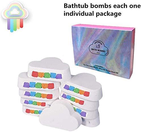 SYXX Regenbogen-Wolke Bad Bombe, Moisturizing Badesalz Ball, Bubble Bomb Öl Regenbogen Bad Ball, eingewickelt in der Handmade-Schaum for Frauen, Regenbogen Wolke SPA Badbombe