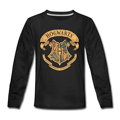 Harry Potter Hogwarts Wappen Teenager Premium Langarmshirt, 146-152, Schwarz