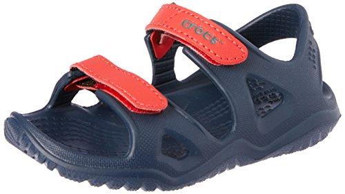 Crocs Unisex-Kinder Swiftwater River Sandalen, Blau (Navy/Flame 4ba), 24/25 EU