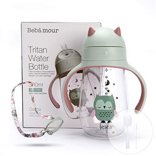 Bebamour Trinklernbecher Baby Sippy Cup Auslaufsichere Trinkflasche für Kinder Auslaufbecher mit Strohhalm für Kleinkinder, BPA-frei, 210ml - Green