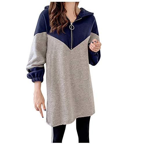 Manteau pour femme - Décontracté - Couleur contrastée - Sweat à capuche - Demi fermeture éclair - Long Tops - Blouse (XL, bleu)