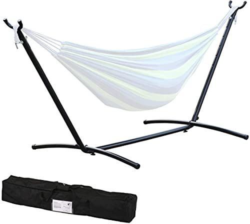 9Ft Portable Heavy-Duty Steel Hammock Stand w/Carrying Case, Weather-Resistant Finish for Indoor or Outdoor, Backyard Decor Bed Patio Lawn Garde, 300 Lb - (Assembles in Minutes Without Any Tools)