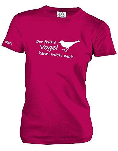 DER FRÜHE Vogel KANN Mich MAL - Style Funshirt - Damen T-Shirt Sorbet Gr. S