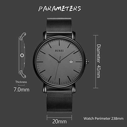 BUREI Men's Minimalist Quartz Watch Big Face Date Display Stainless Steel Mesh Band WeeklyReviewer