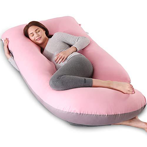 Almohada de maternidad para dormir, almohada corporal suave para embarazadas, almohada de embarazo para dormir de lado con funda de algodón lavable, soporte para cuello/espalda/Blly/pierna (rosa y gris)