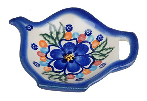 Classic Boleslawiec, Polish Pottery Hand Painted Ceramic Tea Bag Tidy, Diameter: 3.9 inch, 324-U-097 by BCV Boleslawiec Pottery