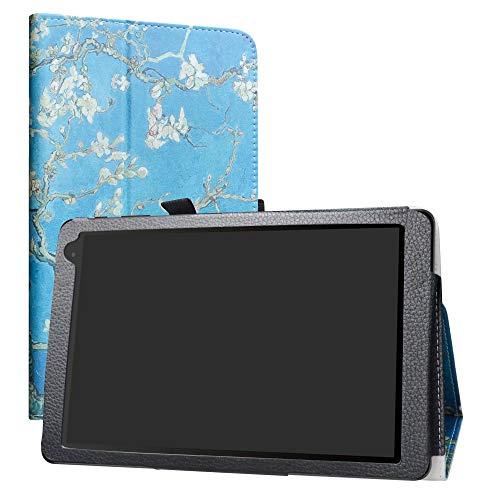 LiuShan Hoes voor Alcatel 1T, Slim PU lederen tas en opvouwbare standaard Folio Cover Case Hoesje voor 10 Alcatel 1T 8082 10inch Android tablet, Almond Blossom