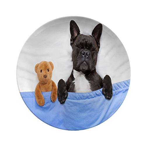 Art Ceramic Dinner Plates,french Bulldog Sleeping In Bed,with Close Together,tableware Plates For Everyday Use,8 Inch