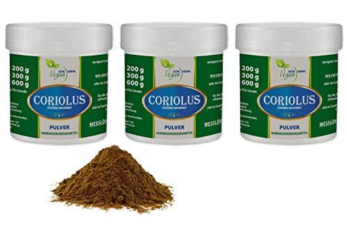VITAIDEAL VEGAN® Coriolus Pilz Pulver Extrakt (Vitalpilz, Coriolus versicolor) 3x300g inklusive Messlöffel rein natürlich ohne Zusatzstoffe.