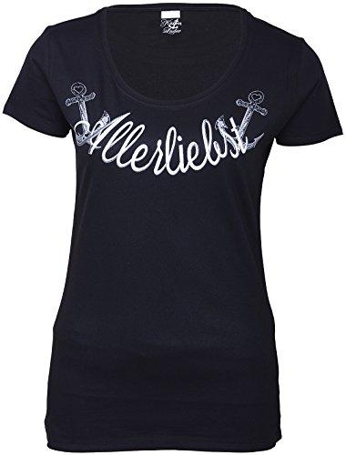 Küstenluder Damen Oberteil Allerliebst Anker Shirt Schwarz 6XL