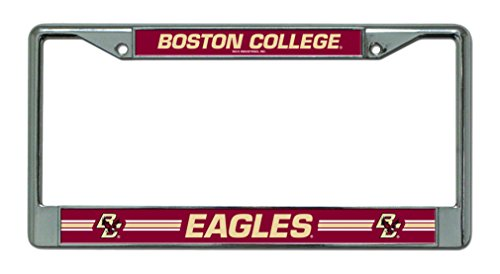 Rico Industries NCAA Boston College Eagles Standard Chrome License Plate Frame , Silver, Maroon , 12-inch by 6-inch