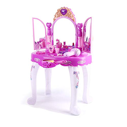 Girl Makeup Game Set Girls Dressing Make Up Vanity Table Kids Vanity Desk With Stool Mirror Glamorous Princess Pretend Hair Dryer Best Gift For Girls for Kids ( Color : Pink , Size : 7244.531cm )