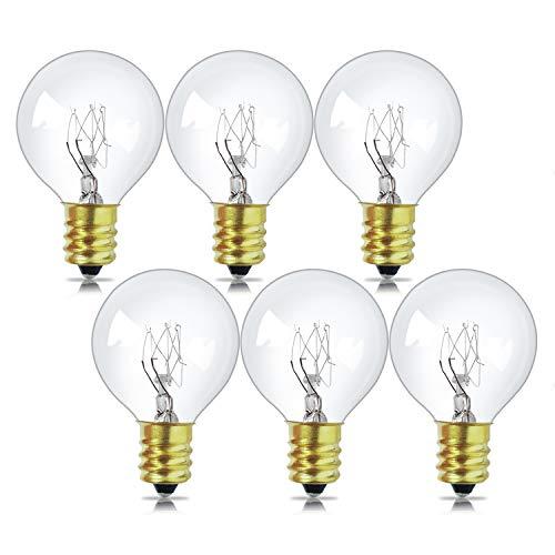6 Pack Ersatzbirnen für G40 Lichterkette Glühbirnen, E12 Leuchtmittel 7W, 2700K, warmweiß, undimmbar
