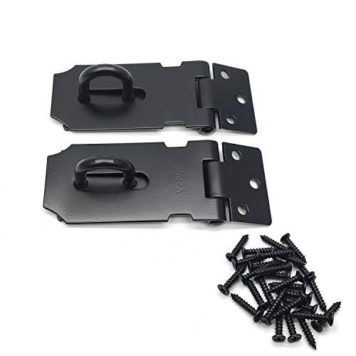 Hasp Susenya Padlock Hasp Latch 3 Inch Slide Latch Door Lock 1.8mm Thickness Black Stainless Steel Pack of 2
