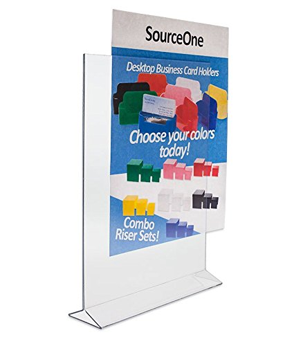 Source One Deluxe Double Sided Clear Acrylic Sign Holder, Ad Frame - Menu Holder (8.5 x 11 6-Pack)