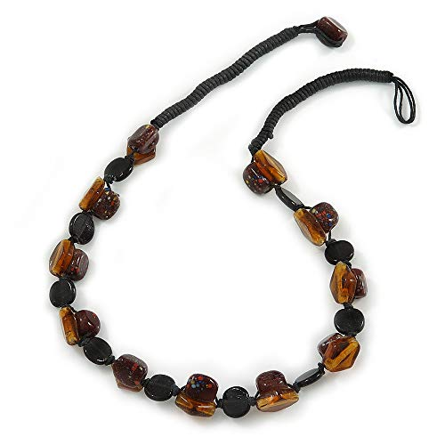 Avalaya Exquisite Glass and Ceramic Bead Cord Necklace (Brown, Black, Amber) - 54cm Long