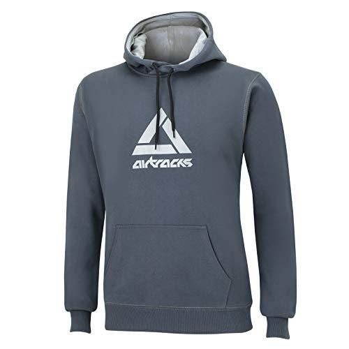 Airtracks Herren Crew Team Sweater Sweatshirt mit Doppellagige Kapuze und Zugband / Pullover / Pulli / Dunkelgrau - XXL
