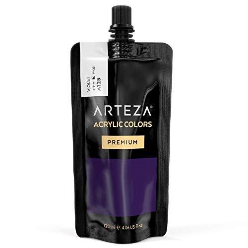 ARTEZA Acrylic Paint Violet Color (120 ml Pouch, Tube), Rich Pigment, Non Fading, Non Toxic, Single Color Paint for Artists & Hobby Painters