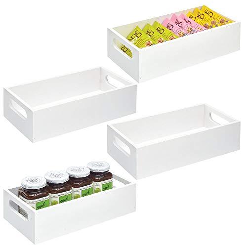 mDesign Juego de 4 cajas organizadoras con asas – Práctico cajón de madera para almacenar alimentos, especias, nueces o botellas – Organizador de cocina abierto en madera de bambú – blanco