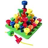 MIAOQI Peg Board Stacking - Juguete para niños pequeños, no tóxico, apilamiento Peg Board Toys Set Home Montessori para la motricidad fina, STM, autismo, juguete educativo para niños