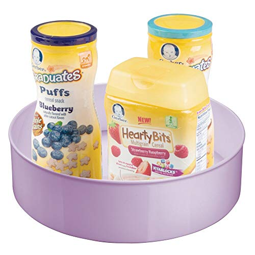 mDesign Plastic Spinning Lazy Susan Turntable Storage Organizer for Kids, Baby/Toddler - Place in Kitchen Cabinet, Pantry, Refrigerator, Countertop - Food Safe - Light Purple