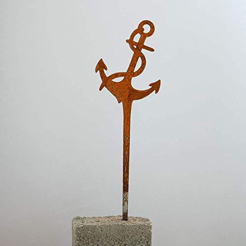 Galionsfigur Anker (Variante S) | Designer Blumenstecker Edelrost - 30cm hoch, maritimes Design, Nordsee, Ostsee, Made in Germany