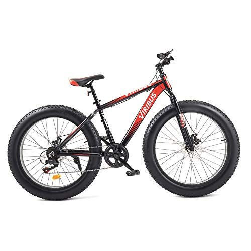 Viribus 26 Inch 7 Speed Bicycle | Mountain Bike with Fat Knobby Tires, Aluminum Frame, Dual Disc Brakes, and Adjustable Seat for Dirt, Sand, Snow, and More | Sturdy Fat Tire Bike for Men or Women, Red