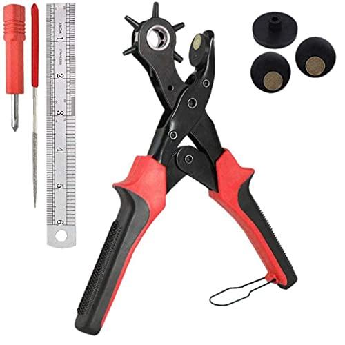 Juego de herramientas para perforar agujeros de cuero Kit de perforadora para cinturones Perforadora profesional para silla de montar de la correa Correa de reloj Zapato DIY Artesanía Suministros ind
