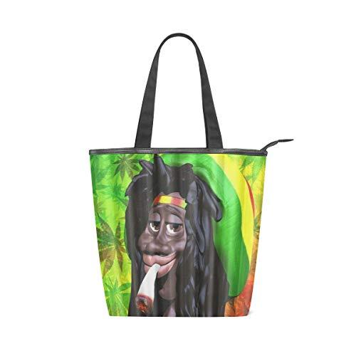BOSENKE Laptop Tote Bag for Women Lightweight Fashion pattern canvas Handbag Womens Shoulder Bag, Cartoon Marijuana Leaf And Man Smoking (work/shopping/school/travel)