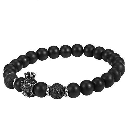 Herenarmband, leeuwenkop-parels, zwart voor heren, armband met stenen parels, modieuze armband, diffuser-armband voor mannen en vrouwen, ideaal cadeau voor mannen