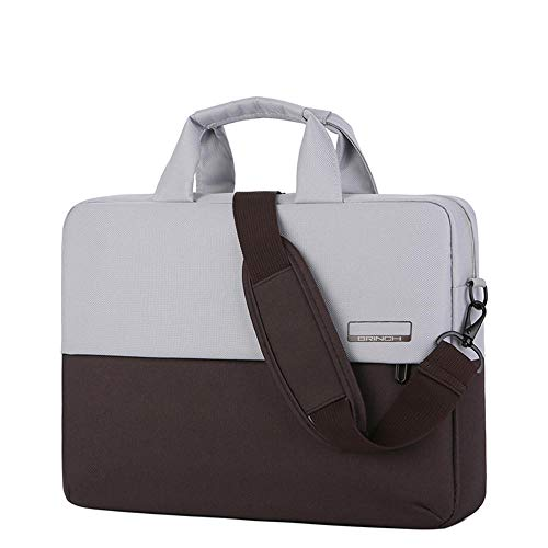 Men's and Women's Clamshell Laptop and Tablet Shoulder Bags, Business Bag briefcases with Handles, specifically Designed to Hold 15-15.6 inches, black-15.6in_Contrast_Color-Brown