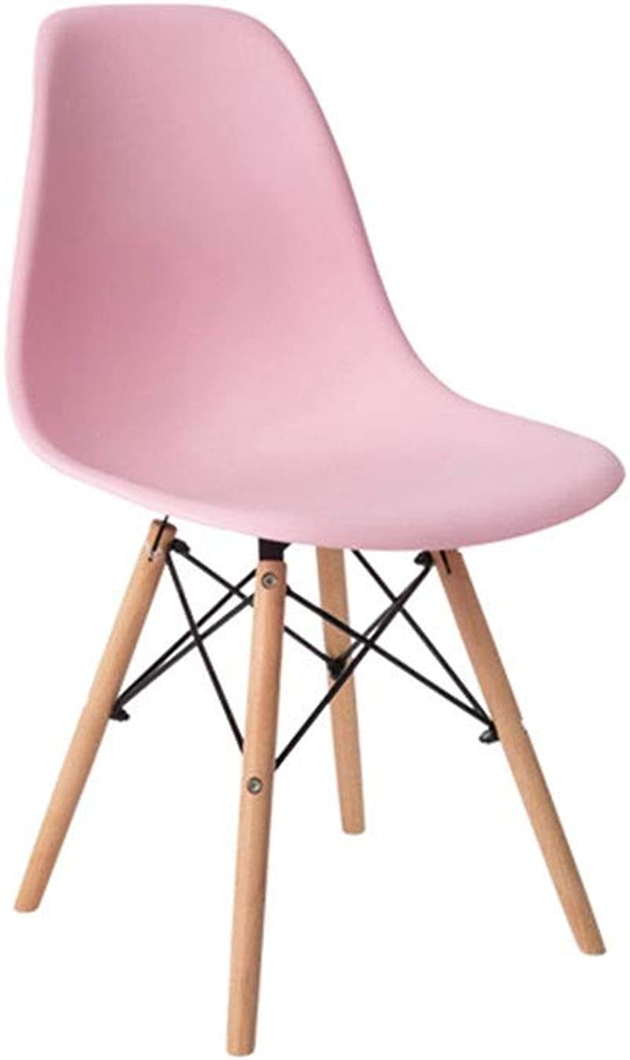 Dining Chair Tulip Plastic Wood Retro Modern Furniture for Living Room Desk Patio Terrace Office 4 kg (color   Pink)