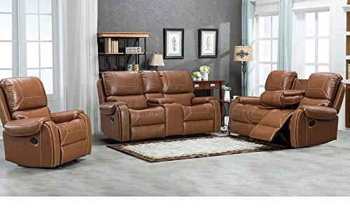 Hollywood Decor Samara 3 Pieces Reclining Sofa Set with Drop Down Table in Tan Leather Gel