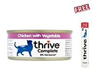 thrive Complete Adult Chicken with Vegetables Saver Pack: 24 x 75g is a balanced, premium quality wet cat food, gently processed in its own juice. It tastes delicious. This great tasting complete cat food uses only the best ingredients: succulent chi...