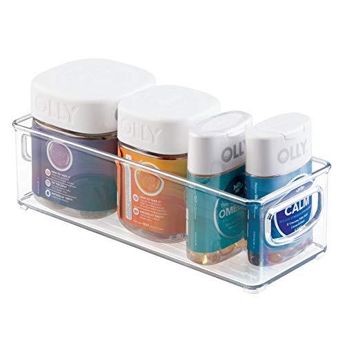 mDesign Cajas de plástico apilables con asas integradas – Caja organizadora con bonito diseño – Ideal como organizador de medicamentos en el hogar – transparente