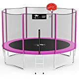 Kangaroo Hoppers 12 FT Trampoline with Safety Enclosure Net, Basketball Hoop and Ladder -2021 Upgraded Kids Basketball Hoop Trampoline TUV & ASTM Tested -Multiple Color Choices(PINK-12FT)