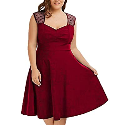 JustWin Women Plus Size V-Neck Polka Dot Dress Sexy Sleeveless Wave Point Mesh Pleated Breathable Slim Fit Dress