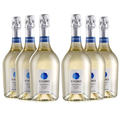 SAN MARTINO VINI Undici Bianco Spumante Millesimato Exra Dry, 6 Bottiglie Vino Frizzante x 750 ml,...