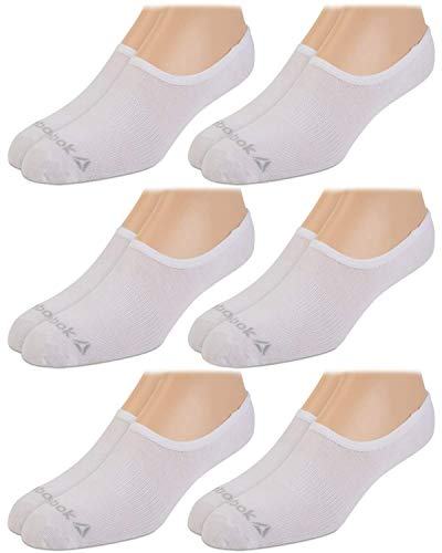 Reebok Men's Flat Knit Lightweight Invisible Liner Sock (6 Pack), White, Shoe Size: 6 - 12.5
