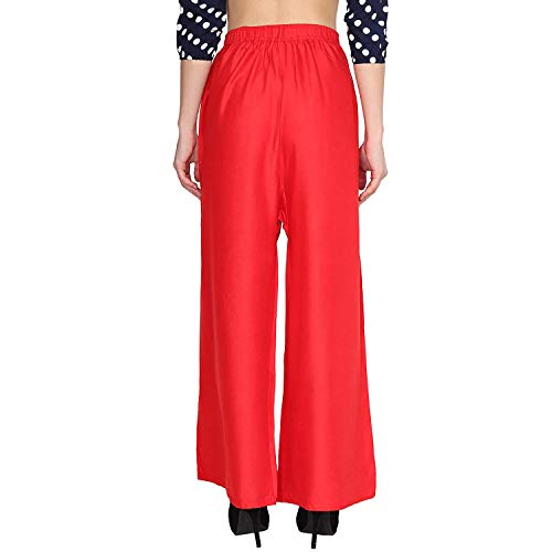 Istyle Can Women's Rayon Palazzo (Red, Free Size)