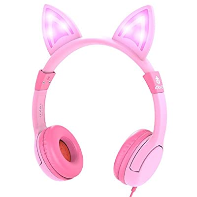 Kids Headphones, iClever Kids Headphones On Ear, LED Backlight, Safe Wired Kids Headsets 85dB Volume Limited, Food Grade Silicone, 3.5mm Aux Jack, Cat-Inspired Headphones for Kids from Iclever